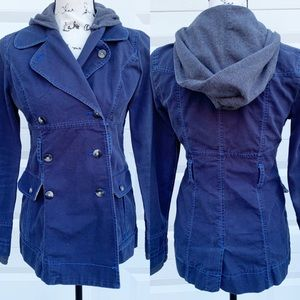 Free People hooded double breasted pea coat sz 2